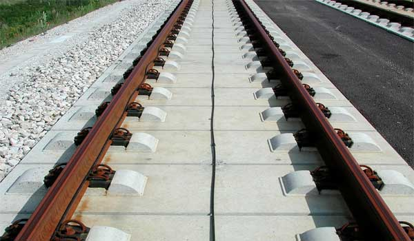 slab track fastening system for high speed rail