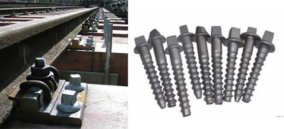 metal railway screw spikes in railway fastening system