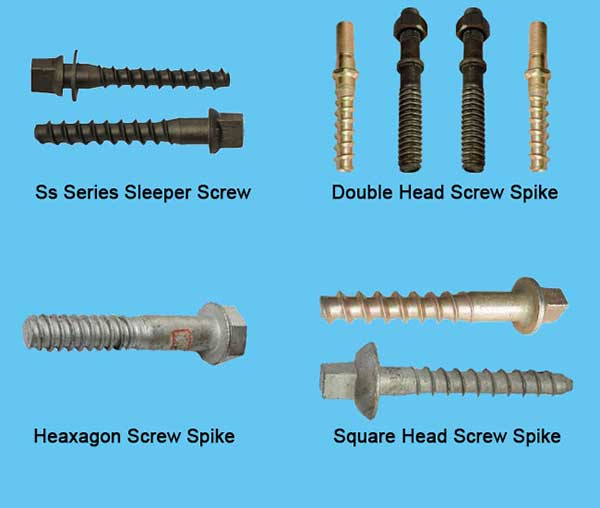 various types of metal railway screw spikes