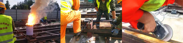 Grooved rail thermite welding operation process